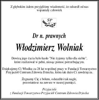 nekrolog_Włodzimierz Wolniak